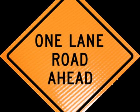 one lane road ahead diamond roll up
