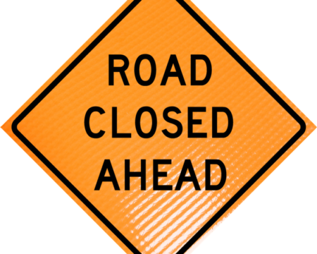 road closed ahead roll up