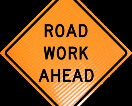 road work ahead vinyl roll up sign