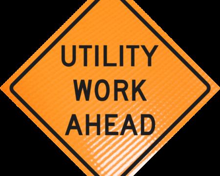 utility work ahead diamond roll up