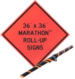 mesh roll up sign orange mesh