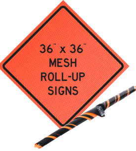 mesh roll up, sign, orange mesh