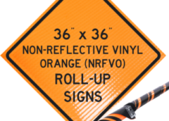 reflective vinyl orange roll up signs, nrfvo, traffic roll ups