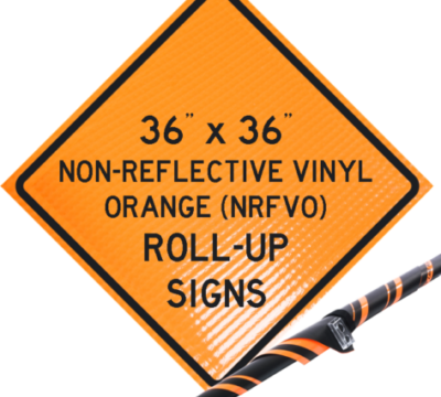 reflective vinyl orange roll up signs, nrfvo, traffic roll ups