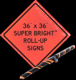 super bright roll up orange sign