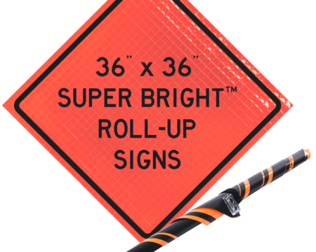 super bright roll up orange sign