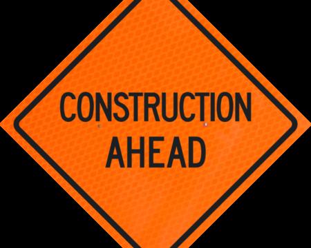 construction ahead orange diamond grade roll up