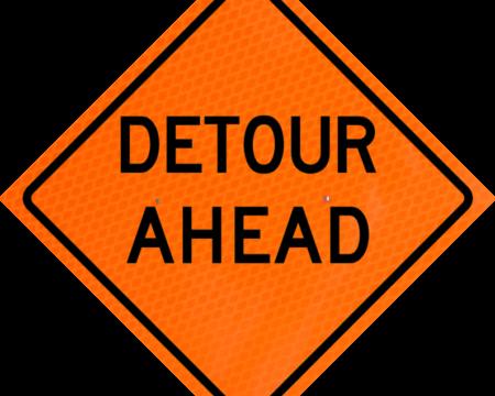 detour ahead orange diamond grade roll up