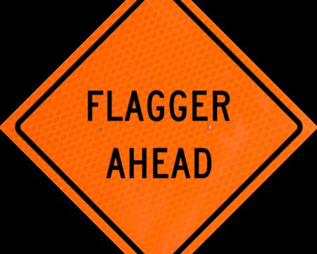flagger ahead words orange diamond grade roll up
