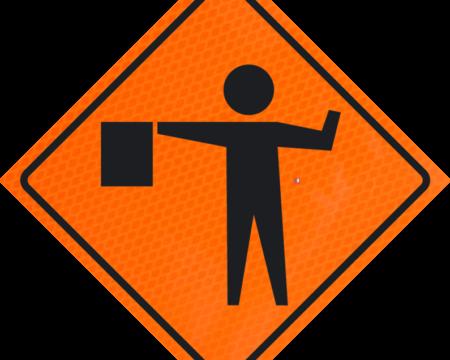 flagger man symbol orange diamond grade roll up