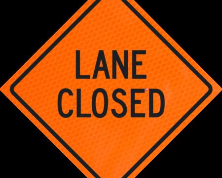lane closed words orange diamond grade roll up