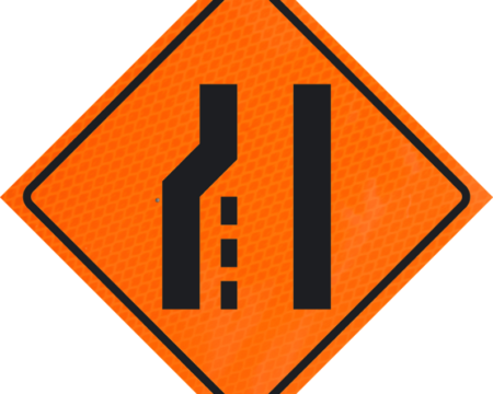 merge left lane orange diamond grade roll up