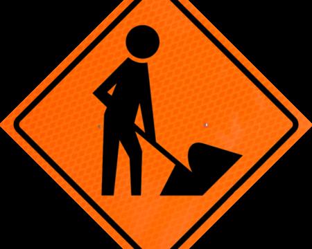 man digging orange diamond grade roll up
