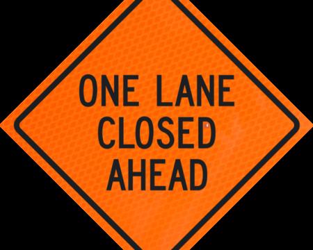 one land closed ahead orange diamond grade roll up