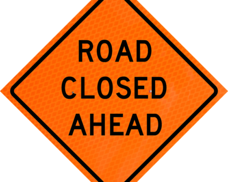 road closed ahead vinyl sign roll up