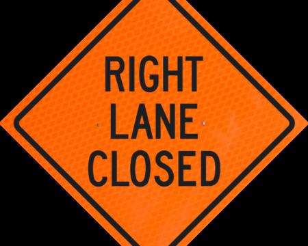 right lane closed orange diamond grade roll up