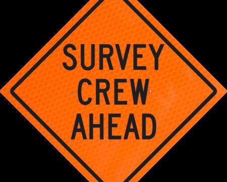 survey crew ahead orange diamond grade roll up