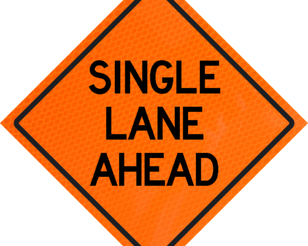 single lane ahead orange vinyl roll up