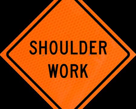 shoulder work words sign orange diamond grade roll up