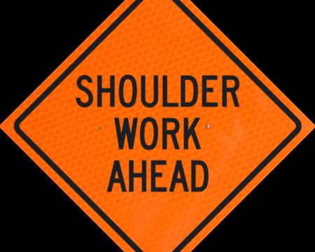 shoulder work ahead sign orange diamond grade roll up
