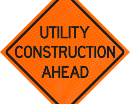 utility construction ahead orange diamond grade roll up