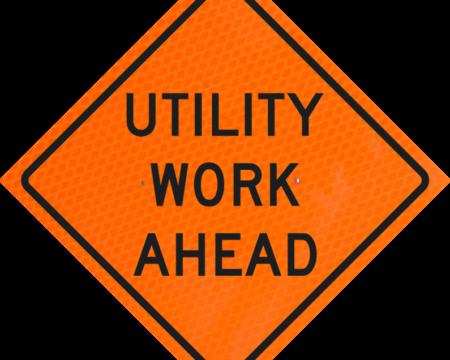 utility work ahead orange vinyl roll up sign