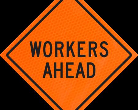 workers ahead orange diamond grade roll up