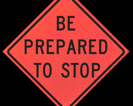 be prepared to stop deep orange diamond roll up