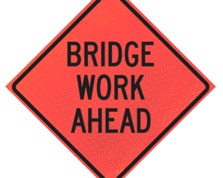 bridge work ahead deep orange diamond roll up