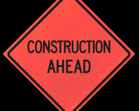 construction ahead deep orange diamond roll up