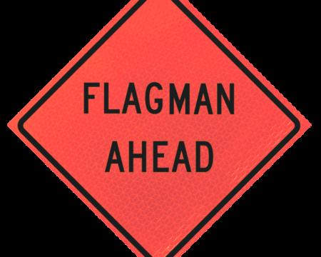 flagman ahead words sign deep orange diamond roll up
