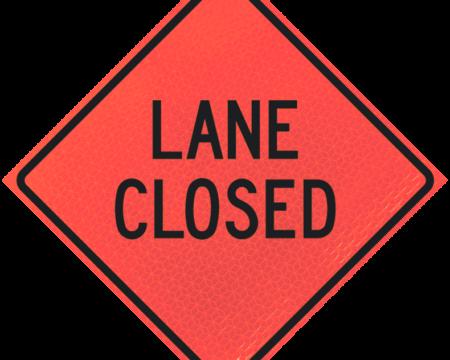 lane closed sign deep orange diamond roll up