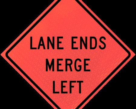 lane ends merge left sign deep orange diamond roll up