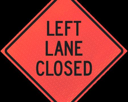 left lane closed deep orange diamond roll up