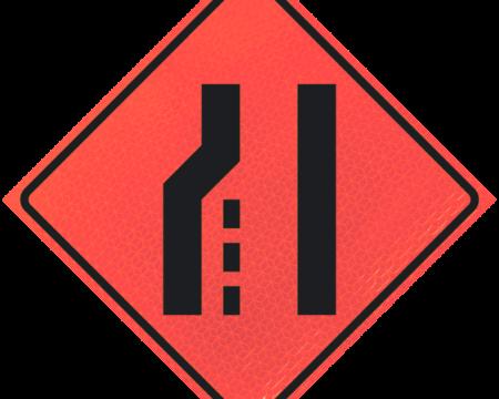 merge signs ahead deep orange diamond roll up