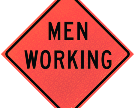 men working deep orange diamond roll up