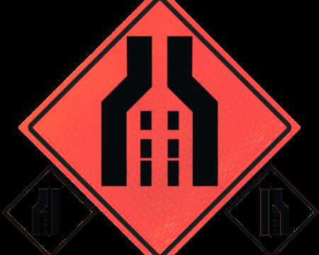 merge orange roll up sign