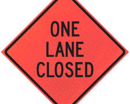 one lane closed deep orange diamond roll up