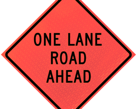 one lane road ahead deep orange diamond roll up