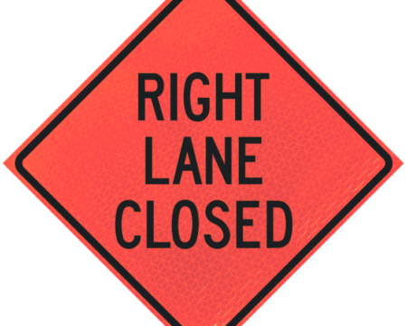 right lane closed sign diamond roll up