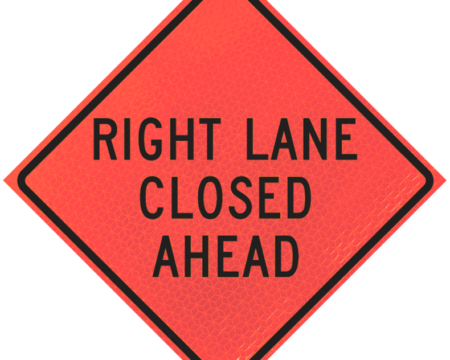 right land closed ahead sign diamond roll up