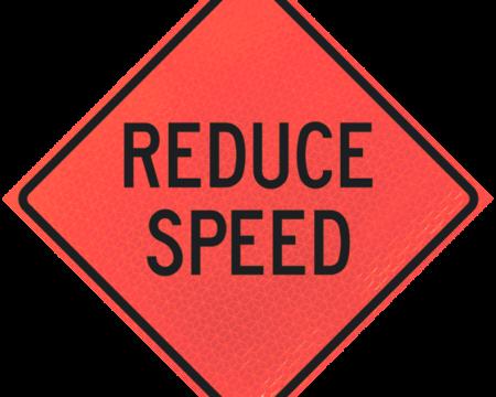 reduce speed sign diamond roll up