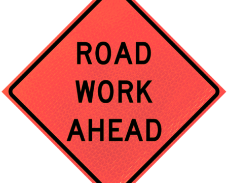 road work ahead words diamond roll up
