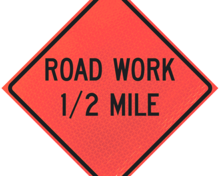 road work ahead number miles diamond roll up