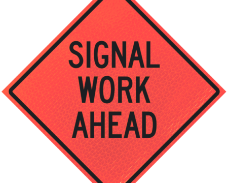 signal work ahead diamond roll up