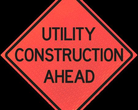 utility construction ahead diamond roll up