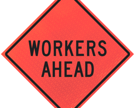 workers ahead diamond roll up