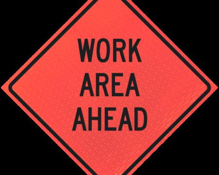 work area ahead diamond roll up