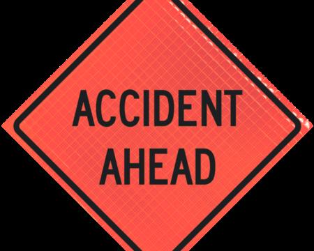 accident ahead orange diamond roll up