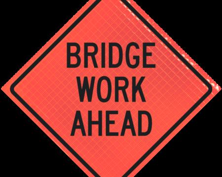 bridge work ahead orange diamond roll up